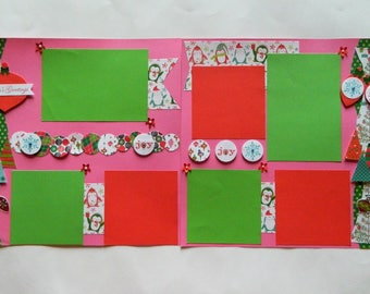 Premade Christmas pages,12x12 Pages,Holiday Scrapbook page,Premade Pages,Ready to Ship Pages