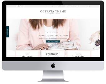 Feminine Wordpress Theme Octavia / Portfolio Theme / Genesis Child Theme / Woocomerce Theme / Photography Theme / Pink Black