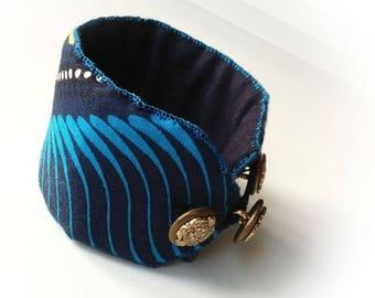 Wide bracelet, cuff, fabric, ethnic, turquoise, yellow