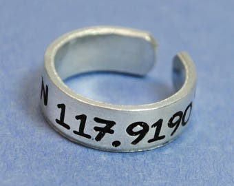Disneyland Coodinates Ring - Handstamped Ring - Adjustable - Pure 1100 Aluminum