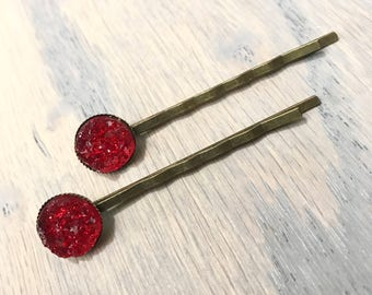 Red Druzy Bobby Pins