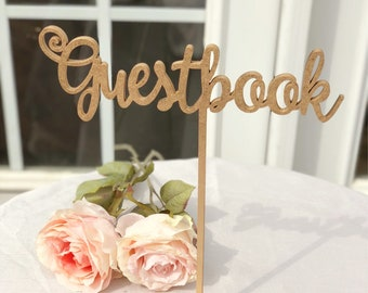 Guestbook Sign, Guestbook Table Sign, Guest Book Wedding Sign, Gold, Silver or DIY
