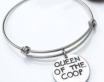 Chicken Decor Gift, Chicken Lover, Chicken Jewelry, Chicken Bracelet, Queen of the Coop, Farm Jewelry, Farmer Gift, Chicken Lover Gift, Farm