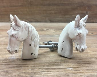 SET OF 2 Horse Knobs - Distressed Cream White Farm Drawer Pull - Nursery Decor - Country Kitchen Cabinet Decor - Decorative Knob