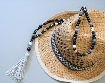 Long necklace wooden beads, silver/black and white boho tassel Bohemian