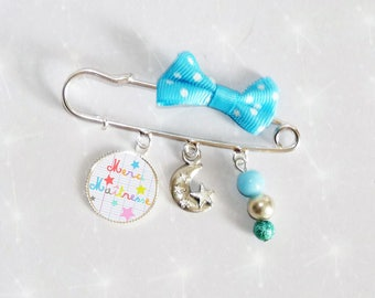 Brooch pin with bow sky blue polka dots, pearls thank you teacher