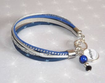 Bracelet personalized names silver leather, cord liberty Star Blue, suede rhinestone beads