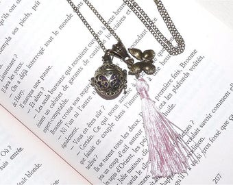 Bola pregnancy/designer long necklace bronze Butterfly with pink tassel