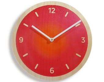 Contemporary Clock. Modern Clock. Red Wall Clock. Red Kitchen Clock. Orange  Clock