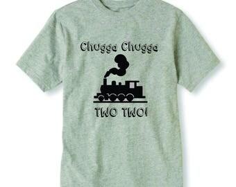"Vinyl ""Chugga Chugga Two Two!"", Iron On decal, Heat, DIY, Heat Transfer, Baby, Toddler, boys kids 2 year birthday photo"