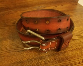 Brown Leather two tone belt