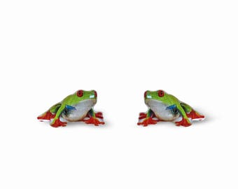 Frog Earrings - Green Frog Earrings - Tree Frog - Frog Accessories - Frog Gift - Surgical Steel Posts