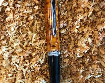 Handmade acrylic pen in lustrous orange acrylic
