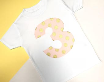 READY TO SHIP: Pink Glitz 3 Appliqué Third Birthday Outfit | 3rd Birthday Outfits | Toddler Birthday Outfit