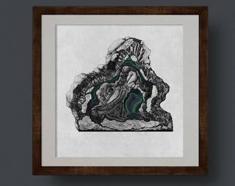 Geode Viscera Print, Digital Collage and Pen & Ink Drawings by Jennifer N. R. Smith. Geode, Crystal, Anatomy, Art, Scientific Illustration