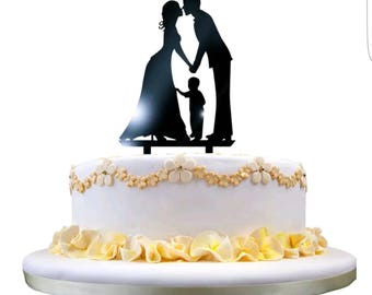 Bride Groom and child Wedding Cake Topper