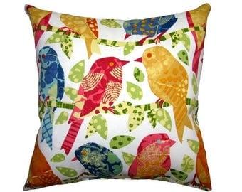 SALE Birds Outdoor Pillow Cover - Red, Blue, Pink, Golden Yellow Birds Throw Pillow - Ash Hill Garden OUTDOOR Pillow - Birds Patio Accent Pi