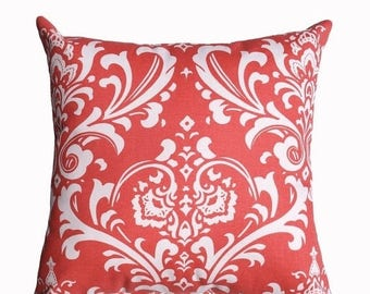 SALE Coral Pillow Cover - Coral Damask Decorative Throw Pillow - Ozborne Coral Couch Pillow - Coral Zippered Accent Pillow - Coral Pillow Ca