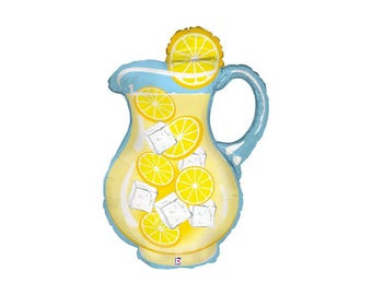 Lemonade Pitcher Balloon - Jumbo Mylar beverage drink lemon