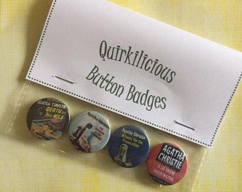 Agatha Christie Inspired Pinback Button Badges 25mm, Murder Mystery Book Badges, Quirky, Fun, Gift