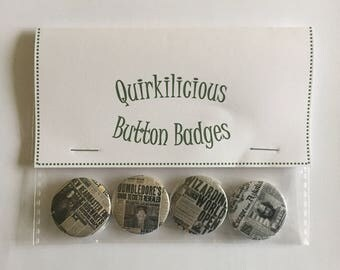 Set of 4 Harry Potter Inspired Pinback Button Badges 25mm, The Daily Prophet Newspaper Headlines, Quirky, Fun