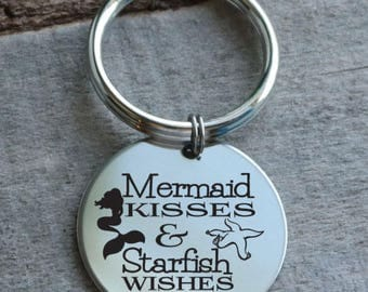 Mermaid Kisses and Starfish Wishes Personalized Engraved Key Chain Gift