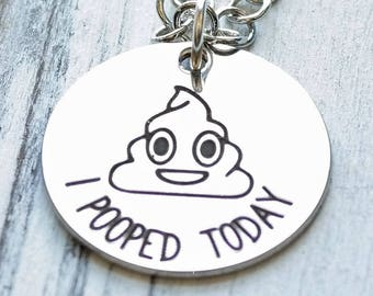 Poop Emoji Personalized Necklace - Engraved