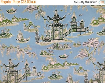 SALE Zipper Closure Waverly Peaceful Temple Chintz Blossom green ivory sky blue  16 x 16 pillow cover Decorative Throw Pillow