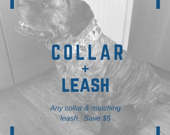 Big Dog Collar & Leash set - American Flag, Violet, Daisy, Red Paw Prints, Plaid 2in wide Collar Lead Combo