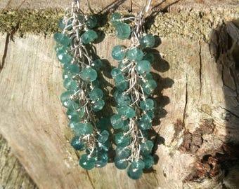 AJMAL Majeed ocean sea blue tourmaline blue tourmaline of cluster earrings cluster cascade earrings 925 sterling silver