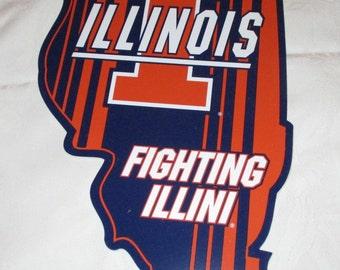 "Illinois  'The Illini"" State Shaped Sign"