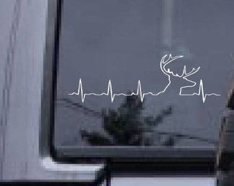 Heartbeat decal, Deer antlers decal, FREE SHIPPING, White vinyl decal, sticker decal, hunting decal, rack decal, heartbeat, home decor #163