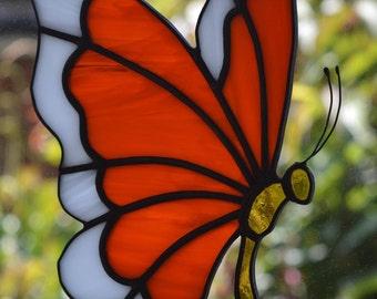 Orange & White Butterfly Stained Glass Suncatcher