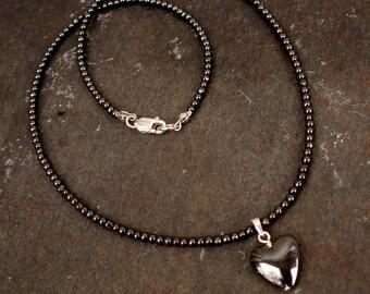 Tiny Black HEART beaded necklace choker - Hematite gemstone necklace -1st Root Chakra gift