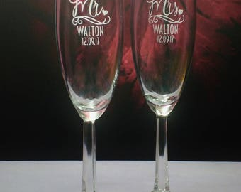 Mr. and Mrs. Champagne Toasting Flute Set   Personalized Champagne Flutes   Mr. and Mrs. Gift   Wedding Couple Gift   Toast Glasses