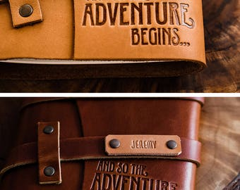 SALE 50% OFF ... Premium Leather Journal -- Fire-Branded Adventure Begins -- Handmade in Portland... Sale Today