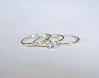 Stacking ring set, stacking rings, silver rings, diamond CZ ring, sterling silver ring, textured rings, thin rings, skinny rings, set of 3