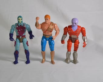 Skeletor, He-Man and Flogg vintage action figures New Adventures of He-Man MOTU 1988