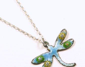 Handmadw enamelled copper dragonfly necklace