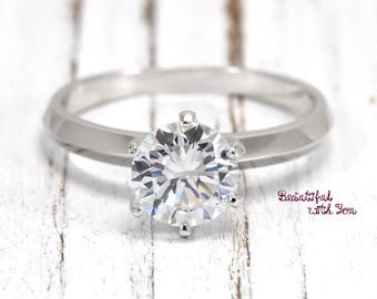 Simple Solitaire Womens Wedding Ring Promise Solid Silver