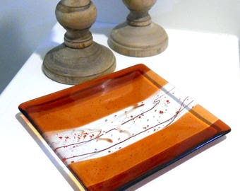 Orange Art Glass Plate with Stringer Accents, 8 Inch Square, Fused Glass Tray, Orange Home Decor