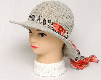 Gray Sun Hat Summer Hat Wide brim Hat Womens Hats Ribbon Hat Crochet Womens Hat Beach Hat Floppy Bow Hat Outdoor Hat Casual Hat Gift ideas