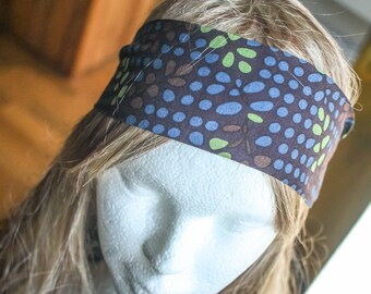 Stretch headband in blue and green polka dot fabric