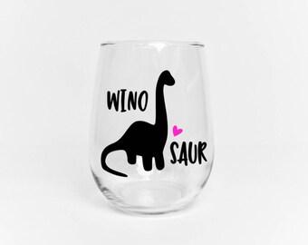 Winosaur // Winosaur wine glass // Dinosaur theme // Mom wine glass // Gift for mom // Dinosaur Lover // Stemless Wine Glass // Funny Wine