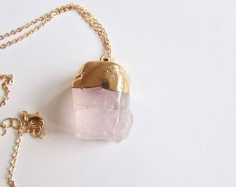 Rose Quartz Gemstone Natural Shape Pendant Free UK shipping Gift boxed + Handmade Gift bag CHRQ1
