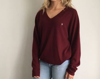 Vtg Christian Dior V-Neck Maroon Sweater Sz L, Men's or Women's