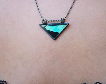 Turquoise Swallowtail Triangle Butterfly Wing Necklace