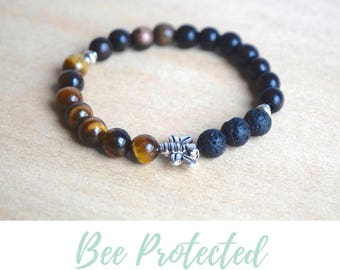 Tigers Eye Bracelet / balance bracelet, nature inspired, bee jewelry gift, diffuser bracelets, tiger eye bracelet, nature lovers gift