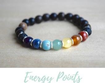 Yoga Energy Bracelet / 7 chakra yoga, yoga gift for mom, 7 chakras meditation, beaded jewelry ideas, seven chakras, meditation bracelet