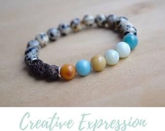 Calming Bracelets / mother in law gift, to mom from son, gift for yoga mom, jasper yoga bracelet, amazonite bracelet, dalmatian jasper
